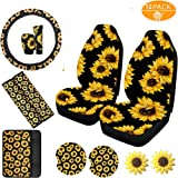 12 Piece Sunflower Car Accesories Set Including 1 Sunflower Steering Wheel Cover,2 Front Seat Covers,2 Sunflower Seatbelt Cov