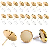 BronaGrand 50 Pieces Stainless Steel Stud Gold Earring Cabochon Setting Post Cup for 10mm and 50 Pieces Clear Rubber Earring