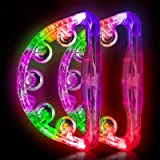 Light Up Tambourine Musical Flashing Tambourine Handheld Percussion Instrument for Kids and Adults Party Toys 2 Pack … (Four