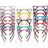 24 Pieces with 24 Colors Cat Ears Hair Headband Fluffy Hair Hoop Girls and Adult for Party and Daily Decoration Costume Cute