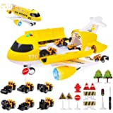 Coolplay Carrier Toy Plane Mini Construction Vehicles Set for Kids Gift Little Car Toy with Road Signs for Boys and Girls