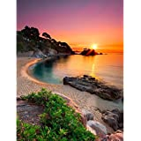 DIY 5D Diamond Painting Beach Sunrise Kits for Adults Full Round Drill(18x14inch/35x45cm), Paintings Embroidery Pictures Arts