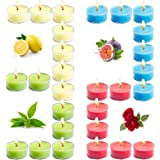 Tobeape Scented Tealight Candle Gift Set for 8 Hours Burning, 32 Pack Natural Soy Tea Lights Portable Travel Candle, Aromathe