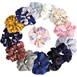 14Pcs Women's Chiffon Flower Hair Scrunchies Hair Bow Chiffon Ponytail Holder, including 8 Colors Chiffon Flower Hair Scrunch