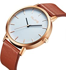 [白雲山] メンズ 腕時計 レディース カジュアル レザー 男女兼用 ブラック ブラウン 超薄型