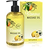 Renew Massage Oil with Orange, Lemon & Peppermint Essential Oils - Great for Massage Therapy or Home use. Ideal for Full Body