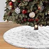 Dremisland Christmas Tree Skirt, 36 inches White&Silver Luxury Faux Fur Tree Skirt with Snowflakes Super Soft Thick Plush Tre