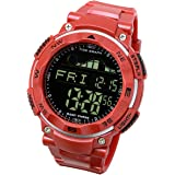 [ラドウェザー]ダイバーズ腕時計 タイドグラフ 100m防水 デジタル時計 (コーラルレッド(反転液晶))