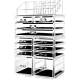 """hblife Makeup Organizer Acrylic Cosmetic Storage Drawers and Jewelry Display Box with 12 Drawers, 9.5"""" x 5.4"""" x 15.8"""", 4 Piec"""