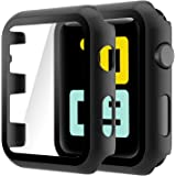 Hianjoo (2 Pack) Case Compatible with Apple Watch Series 3 Series 2 38mm, Built-in Ultra Thin HD Tempered Glass Screen Protec