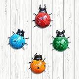 CREPRO Metal Garden Wall Art Decor Set of 4 Cute Ladybugs Outdoor Wall Sculptures Metal Ladybug Outdoor Decorations for Patio