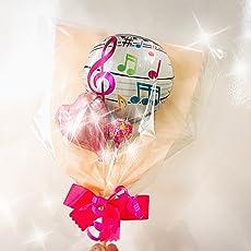 ミニキャンディメッセージバルーンブーケ 音符pink 全19種