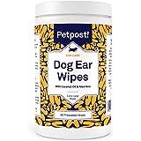 Petpost   犬用耳クリーニングシート - ココナッツオイルとアロエエキスを含んだシート60枚 - ワンちゃんの耳ダニ治療、耳の感染症に (Dog Ear Wipes, Extra Large, 60 ct.)
