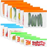 Reusable Storage Bags, 9 Pack Stand-up Silicone Food Storage Bag (3 Reusable Gallon Bags, 3 Leakproof Sandwich Bags, 3 Thick