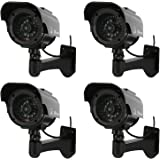 NONMON 4 Pack Solar Powered Simulated Dummy Surveillance Security Cameras Black
