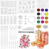 Resin Jewelry Making Kit, Thrilez 131 Pcs Resin Mold Kit with Silicone Resin Molds, Dried Flowers, Gold Foil Flakes and Tools