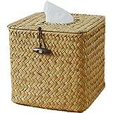 Morava Square Seagrass Facial Tissue Box Decorative Woven Paper Holder Napkin Dispenser (1)