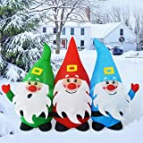 GOOSH 7Foot Length Christmas Inflatable Blow up Three Santa Claus Holiday Yard Decoration, Indoor Outdoor Garden Inflatables