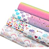 """David accessories Rainbow Hearts Superfine Glitter Printed Faux Leather Sheets 6 Pcs 7.8"""" x 13.3"""" (20 cm x 34 cm) Include 2 K"""
