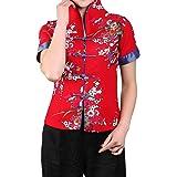 Bitablue Women's Cotton Linen Short-Sleeve Chinese Shirt with Flower Print