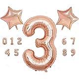 READYSETGO! 40 Inch RoseGold Number 3 Balloon Birthday Decoration, Birthday Banner, Birthday Balloon, Number Balloon, Helium