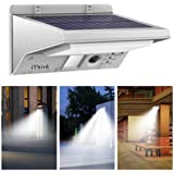 Solar Lights Outdoor Motion Sensor, iThird LED Solar Powered Security Lights Stainless Steel for Yard Patio Garage Waterproof