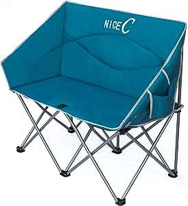 NiceC ダブルキャンプチェア ラブシート 特大折りたたみキャンプシート ストラップキャリーバッグ付き (ブルー)