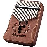 YUANSHENG高品質の17鍵カリンバ, 親指ピアノ Kalimba 17音の指ピアノ, ハンマー、スタディガイド。 (レトロな色)