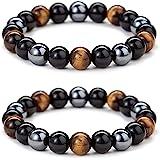 Triple Protection Bracelet for Bring Luck and Prosperity Hematite Black Obsidian Tiger Eye Stone Bracelets for Men Women, Bea