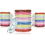 BIHRTC Pack of 30 Colorful Flexible Spiral Coil Stretchable Spring Wristband with Key Ring for Office, Workshop, Shopping Mal