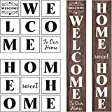 Welcome and Home Sweet Home Stencil - 18 Pack Large Vertical Welcome and Home Sweet Home Sign Stencils Templates for Painting