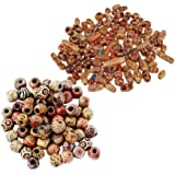 MagiDeal 200 Pieces Mixed Large Hole BOHO Wooden Beads Spacer for Macrame European Charms DIY Jewelry Crafts