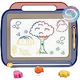 おえかきボード BangLede 大画面(41*35cm)持ち手付お絵かきボード 3個マグネットスタンプ付属 4色 磁石ボード らくがき 描いて消して 楽しくおえかき 何度でも描ける 知育玩具 (ブルー)