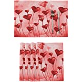 Red Heart Valentine's Day Placemats Tables Mats Set of 6 for Kitchen Dining Double Sided Tablemats Romantic Floral XOXO Valen