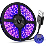 UV Light Strip USB LED Black Light Strip DC5V 390nm-400nm 6.56FT/2M SMD 3528 120LEDs IP65 Waterproof Super Bright LED Strip L