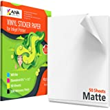 Printable Vinyl Sticker Paper - Waterproof Decal Paper for Inkjet Printer - 50 Self-Adhesive Sheets - Matte White - Standard