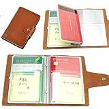 通帳ケース 本革製 通帳とカードセットで収納できる (キャラメル)