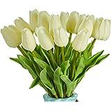 造花 枯れない花 チューリップ 造花 インテリア ギフト 大切な人へ感謝の気持ちを伝える 花束 インテリア造花アートフラワー 20本 ホワイト 家、事務所、店、喫茶店、結婚式、パーティーなど様々の応用場所