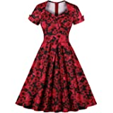 Killreal Women's Vintage Floral Short Sleeve A-line Casual Christmas Party Dress