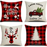 KACOPOL Red Black Buffalo Check Plaid Christmas Tree and Red Car Deer Pillow Covers Farmhouse Decorative Cotton Linen Throw P