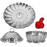 Vegetable Steamer Basket, Stainless Steel Folding Steamer Basket Insert for Veggie Fish Seafood Cooking, 100% Stainless Steel
