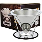 Tongke Coffee Filter, Stainless Steel Reusable Pour Over Cone Coffee Dripper & Paperless Filter with Removable Stand (Silver)