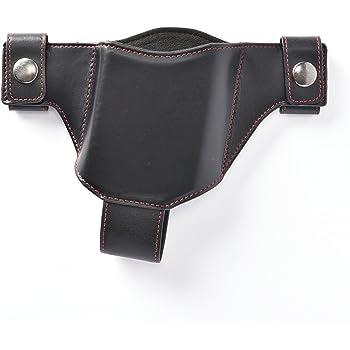 スマホ専用本革製ホルスター(右用) ブラック(赤ステッチ)
