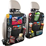 Backseat Car Organizer Kick Mats back seat storage bag with Clear Screen Tablet Holder and 9 Storage Pockets,Car Seat Back Pr