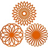 ME.FAN 3 Set Silicone Multi-Use Flower Trivet Mat - Premium Quality Insulated Flexible Durable Non Slip Coasters Hot Pads Ora