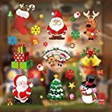 Christmas Window Clings, Miss Rui 10 Sheets Christmas Window Stickers, Snowflakes Reindeer Santa Claus Static Clings for Chri