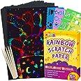 Pigipigi Scratch Paper Art for Kids - 59 Pcs Magic Rainbow Scratch Paper Off Set Scratch Crafts Arts Supplies Kits Pads Sheet