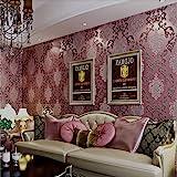 KeTian European Style Luxury 3D Damask Pearl Powder Non-Woven Wallpaper Roll for Living Room Bedroom Hotel Wallpaper Purple R