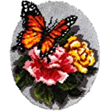 MeetBSelf Latch Hook Rug Kit Floral Butterfly 20.4X20.4 in
