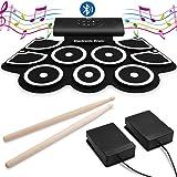 電子ドラム 楽器【Bluetooth機能付き】練習用パッド MIDI機能 初心者 9個ドラムパッド 12デモ曲 7音色ドラムセット 9リズム フットペダル ドラムスティック付き 入門 子供 ポータブルドラム 贈り物として 多種充電式 外部音源入力可能 携帯便利 (加厚型)